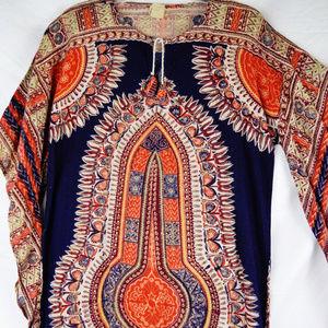 Vintage 70s Caftan Cotton Print Dress Boho Festiva